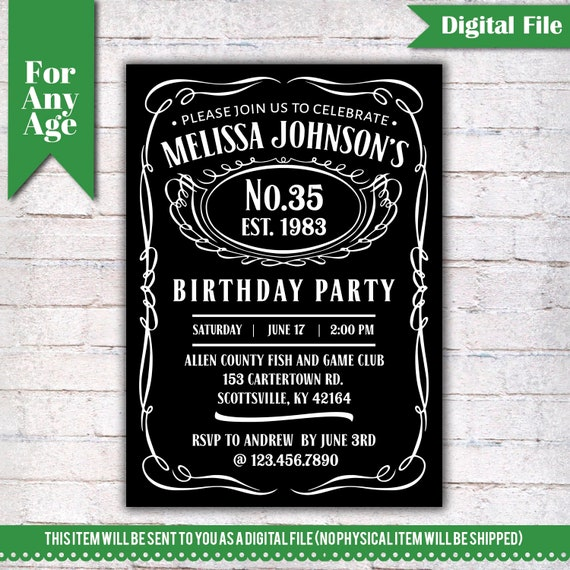 35th Birthday Invitation Vintage Whiskey Themed Party Invite Liquor I028