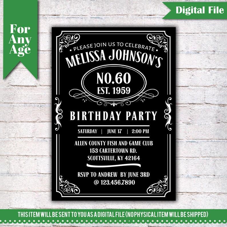 60th Birthday Invitation Vintage Whiskey Themed