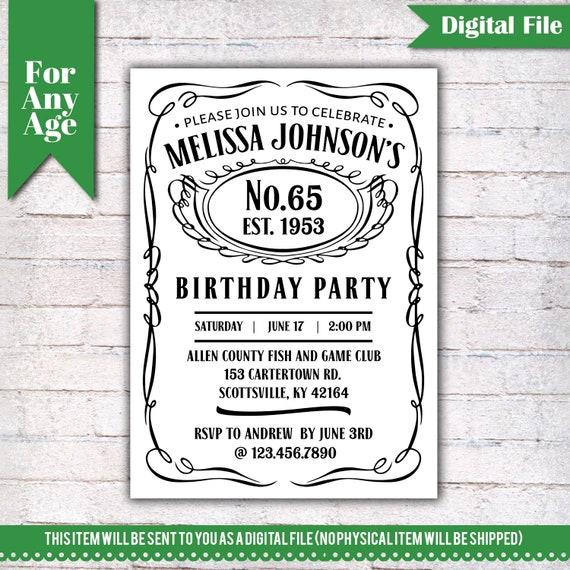 65th Birthday Invitation Vintage Whiskey Themed