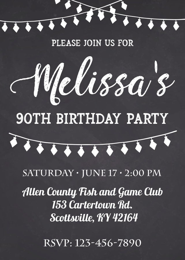 90th Birthday Invitation Party Invite Printable Adult Black And White Any Age Men Or Women