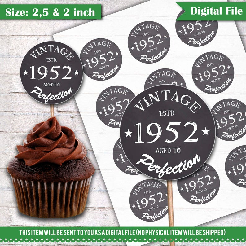 66th Birthday Cupcake Toppers 1952 Vintage Aged To Perfection