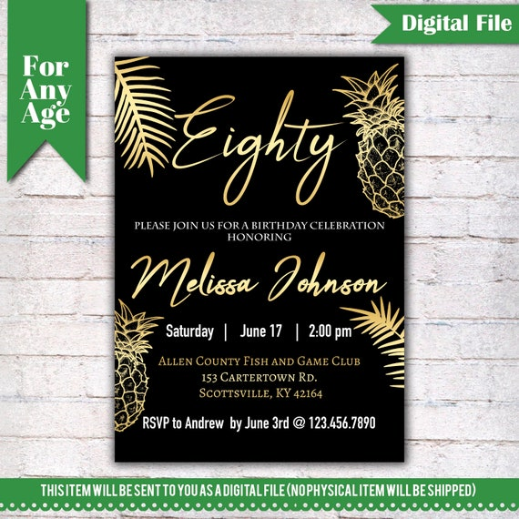 80th Birthday Invitation Tropical Pineapple Gold Party Printable Adult
