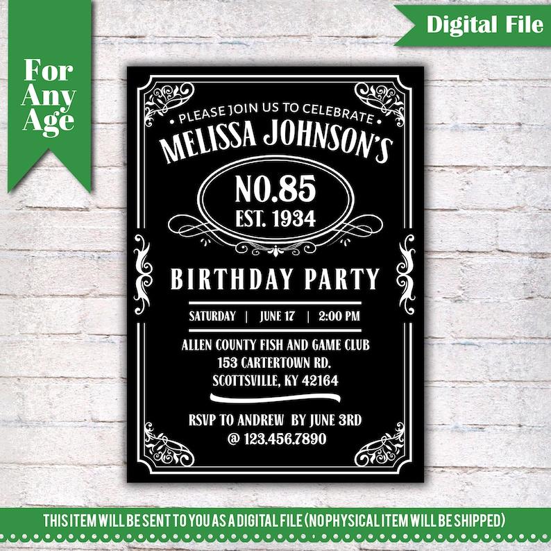 85th Birthday Invitation Vintage Whiskey Themed