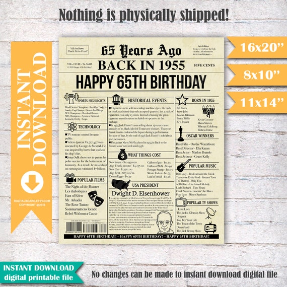 Personalized 65th Anniversary Chalkboard Poster 65th Anniversary Gift Digital Files 65 Years Ago 1955 Events /& Fun Facts