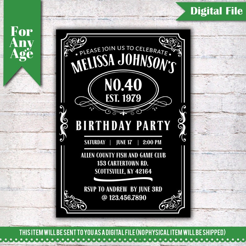 40th Birthday Invitation Vintage Whiskey Themed