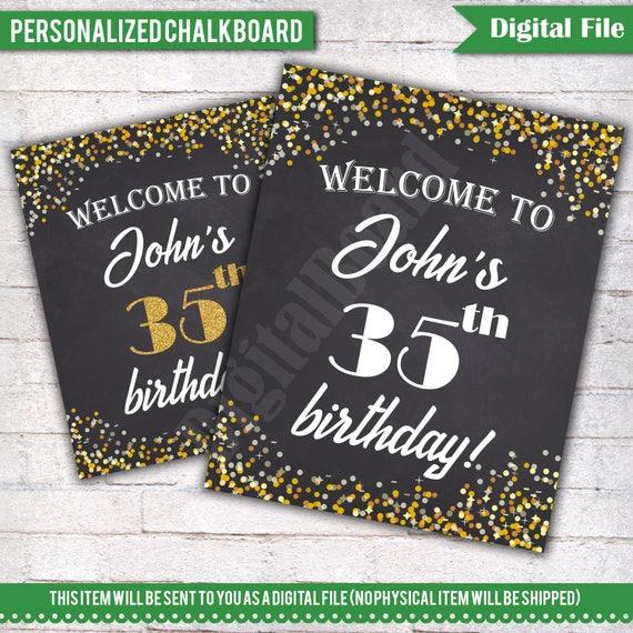 Bienvenida cartel de cumpleaños personalizado 35 cumpleaños   Etsy