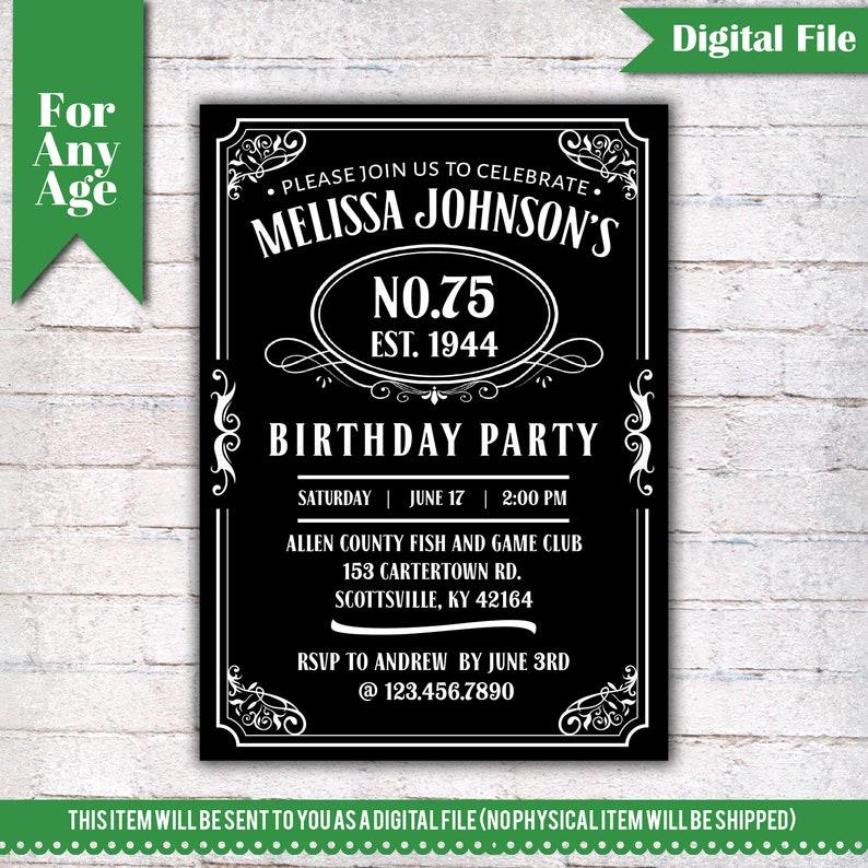 75th Birthday Invitation Vintage Whiskey Themed Party Invite Liquor I028
