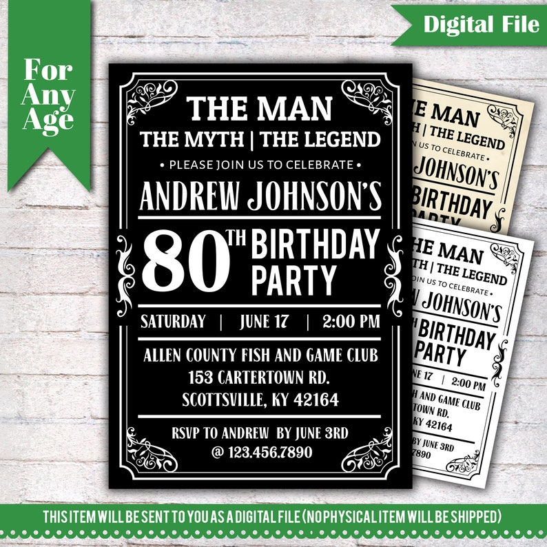 The Man Myth Legend Birthday Invitation 80th