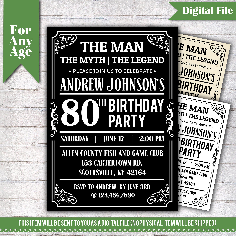 The Man Myth Legend Birthday Invitation 80th Party Printable Adult Any Age Men