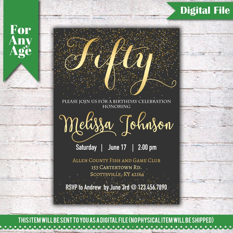 50th Birthday Invitation Party Invite Printable