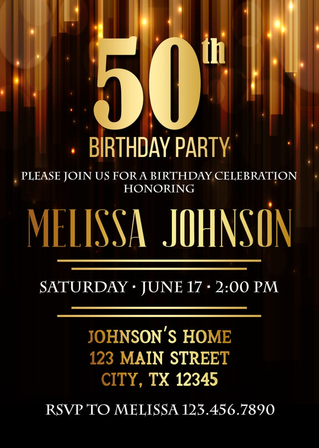 50th Birthday Invitation Party Invite Printable Adult Black And Gold Any Age Men Or Women