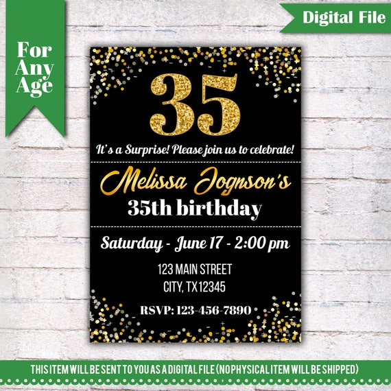 35th Birthday Invitation Party Invite Printable
