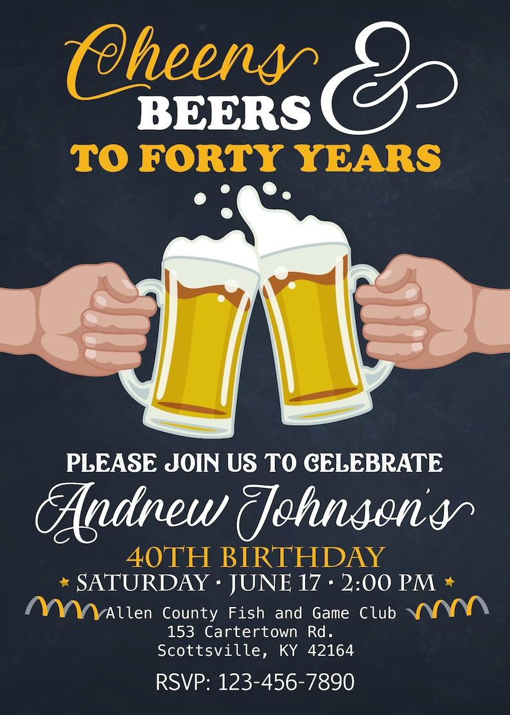 Cheer und Bier bis 40 Jahre Geburtstag Party-Einladung 40