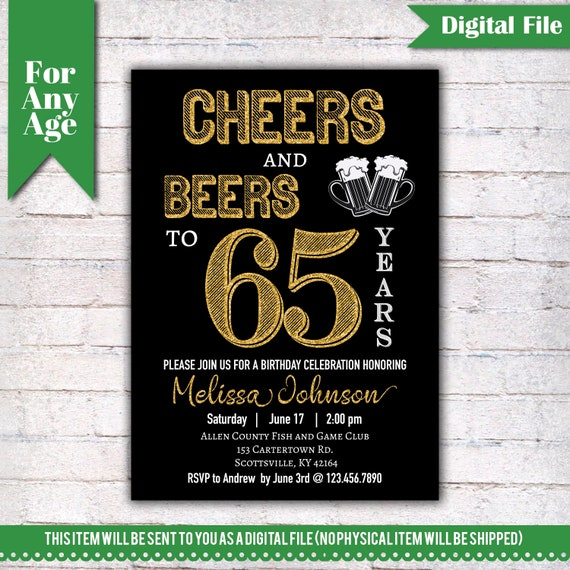 Cheers And Beers To 65 Years Birthday Party Invitation 65th