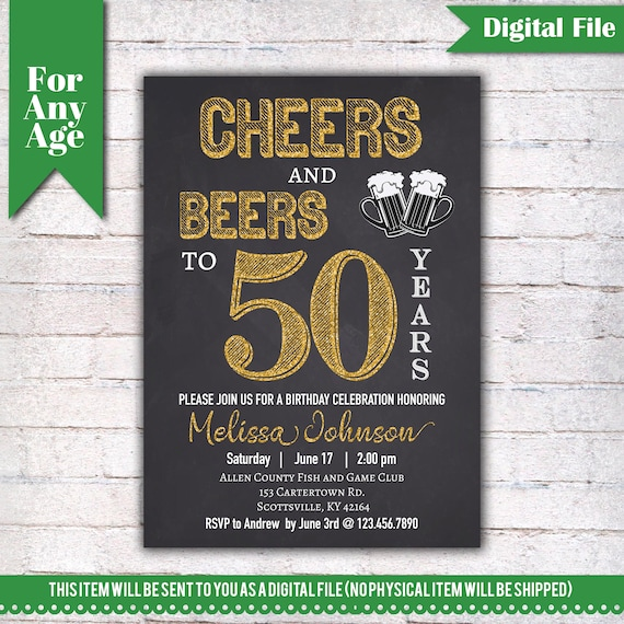 Cheers And Beers To 50 Years Birthday Party Invitation 50th Printable Adult Invite