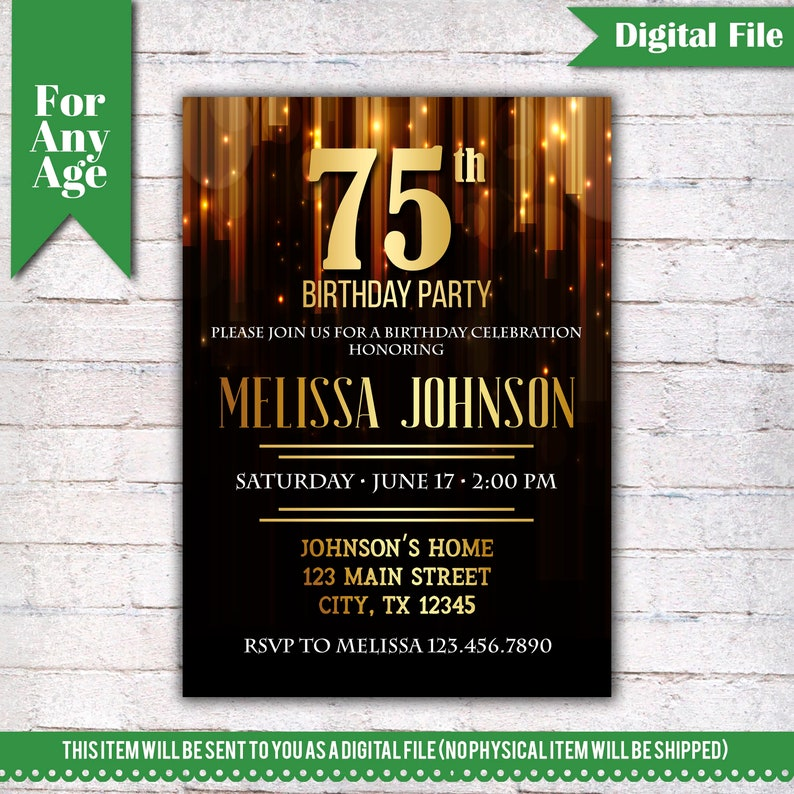 75th Birthday Invitation Party Invite Printable Adult Black And Gold Any Age Men Or Women