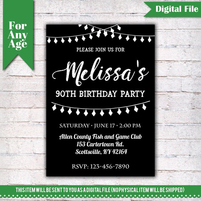 90th Birthday Invitation Party Invite Printable Adult Black And White Any Age