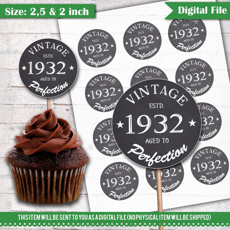 86th Birthday Cupcake Toppers 1932 Vintage Aged To Perfection
