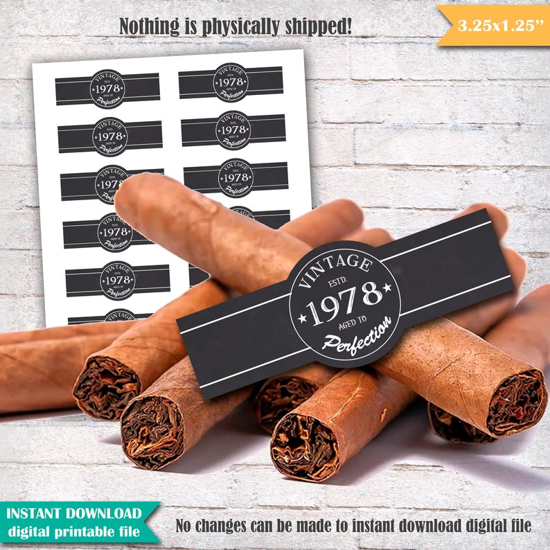 picture about Free Printable Cigar Labels identified as Cigar Labels 40th Birthday Cigar Band, 1978 Classic Previous in direction of Perfection Birthday Cigar Labels, Cigar Get together Printable Quick Obtain - SM13