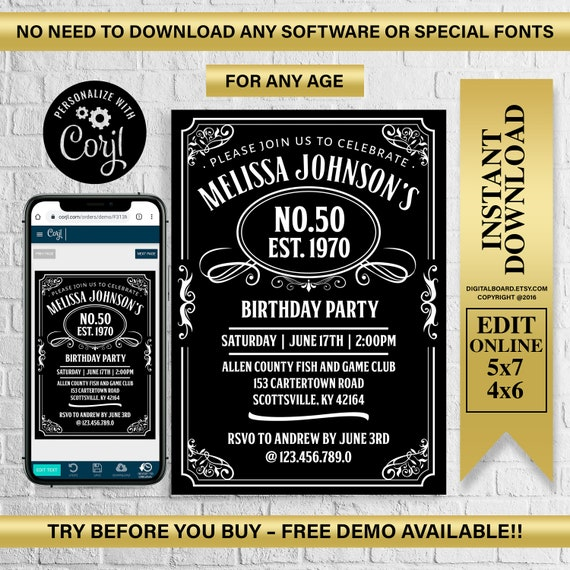 Aged to Perfection invitation for man INSTANT DOWNLOAD Bourbon birthday invitation for him