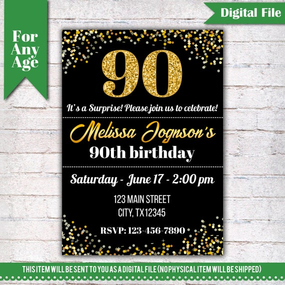 90th Birthday Invitation Party Invite Printable