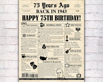 75th Birthday Newspaper Poster Sign, 75 Years Ago Back in 1943 USA Events, Black & Old Paper, Instant Download Print Digital File - 1212