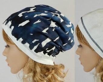 e1bd3eec972 Slouch beanie hat men women Jersey beanie Reversible beanie T-shirt beanie  Hat adult unisex Denim blue beanie women men Chemo hat stretchS-L