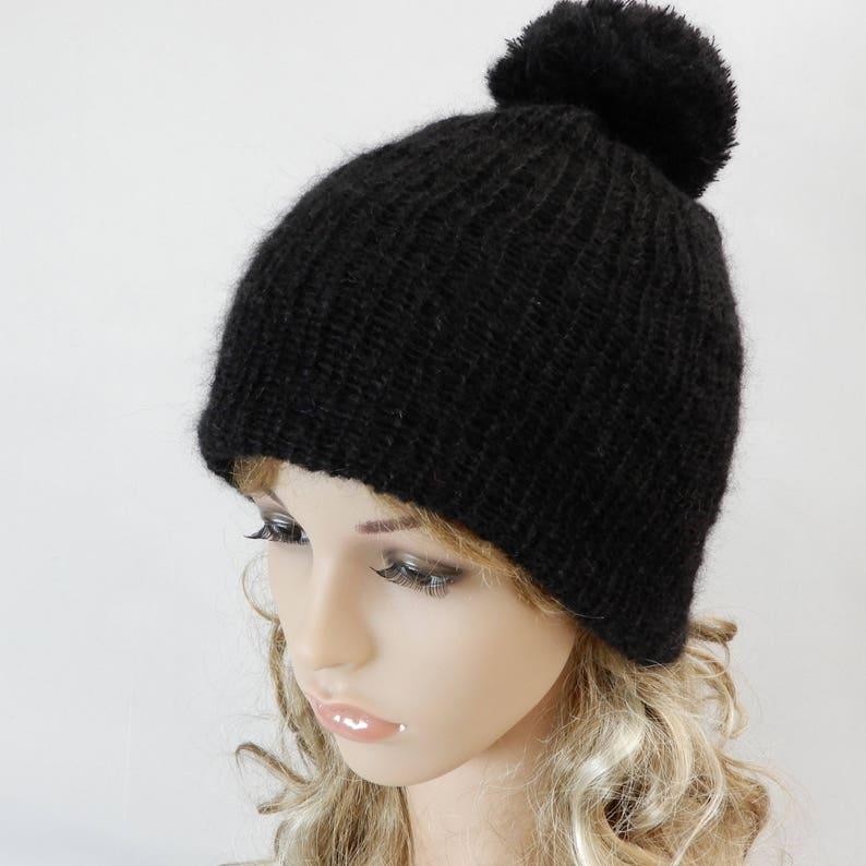 0676ed5a7fe13 Black winter beanie women Knit soft silk-mohair hat Beanie pom