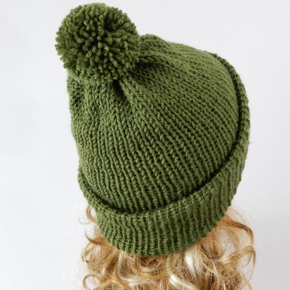 d2f3c7703 Green hat with pom pom Knit hat women Knit hat men Beanie women Beanie men  Green beanie hat Pom pom beanieBeanie-scarf Ski hat stretch XS-L