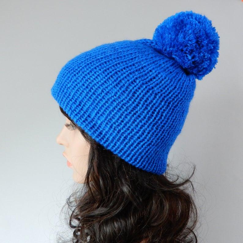 25662a834a0 Blue beanie hat women Pom pom beanie Knit hat women Knit hat