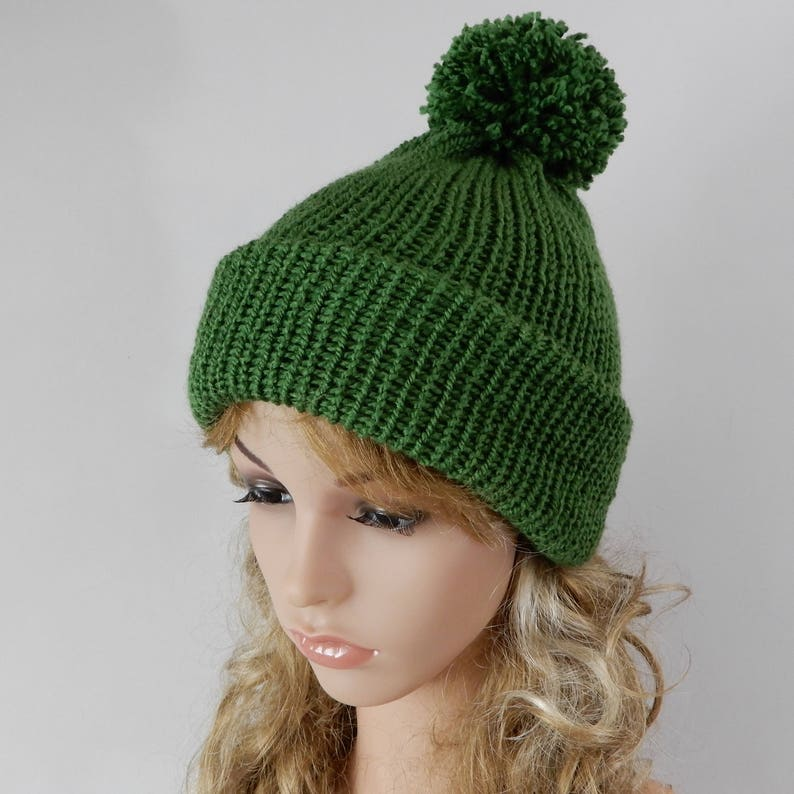 Green hat with pom pom Beanie women Beanie men Knit beanie hat  8476ba6c286
