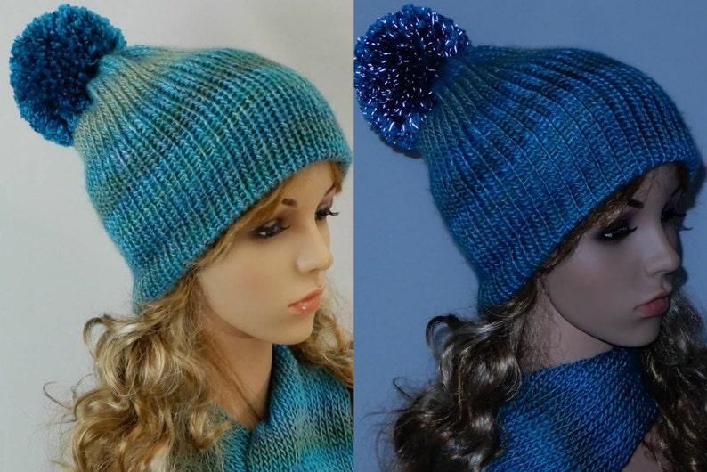 55f0c72cf936a Winter beanie hat-scarf set women girl Reflective pom pom