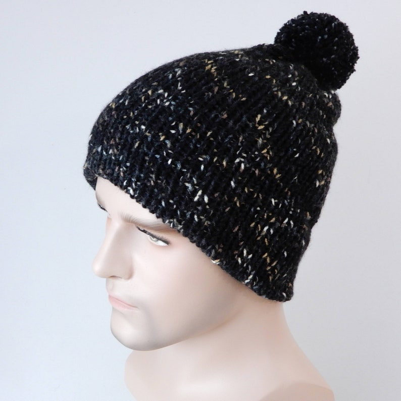 8e3de44a2 Winter beanie men Beanie women Pom pom beanie hat Black beanie men women  Knit hat women men Pom pom hat Winter wool hat stretch S-L