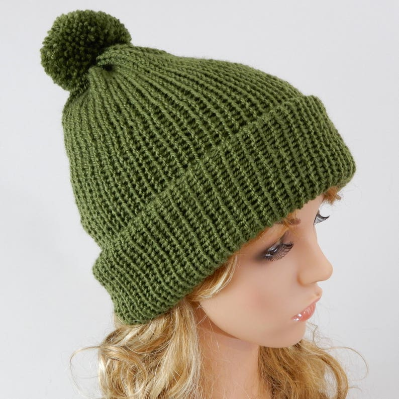 Green hat with pom pom Knit hat women Knit hat men Beanie  3191d895ae2