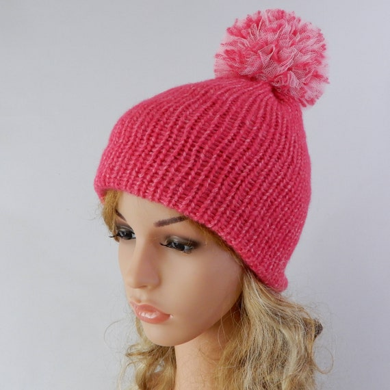 Pink beanie pom pom Winter hat women Knit winter hat Knit hat  5d0afa4b1a9