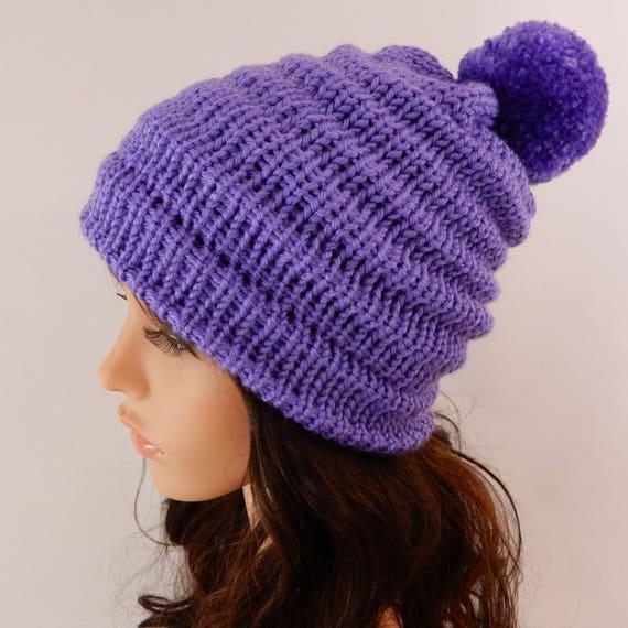 8f404501b92 Knit pom pom beanie Violet beanie hat women Purple-lavender
