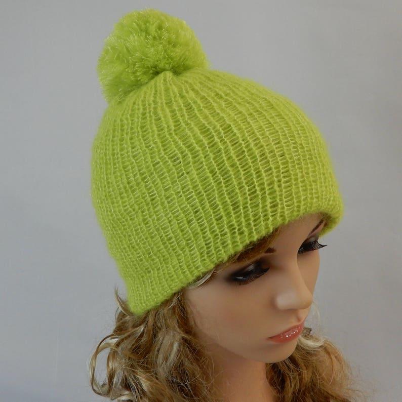 30f9a81a366e5 Green beanie hat with pom pom Knit soft silk-mohair beanie hat