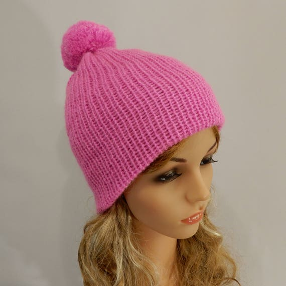 Pink beanie hat women girl Winter beanie pom pom Knit hat  7f04028d095