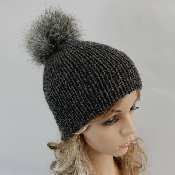 9d55f488378 Knit gray winter beanie women Pom pom beanie Knit hat women