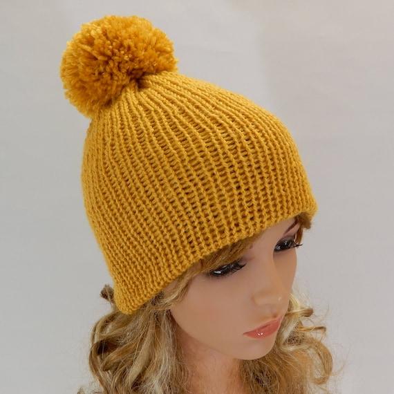 Winter beanie women Pom pom mustard knit hat Mustard yellow hat women Knit  hat women Winter beanie hat pom pom Wool beanie stretchy S-L b6609c0f291