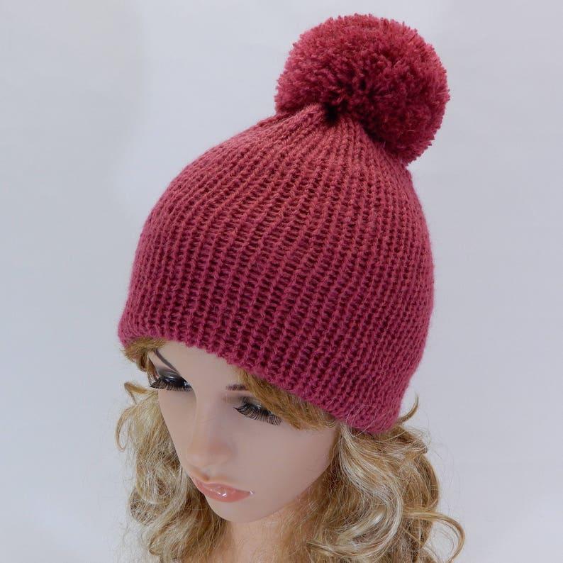 0ff02e8b10c Knit beanie Soft winter hat Pom pom beanie women Dark pink hat