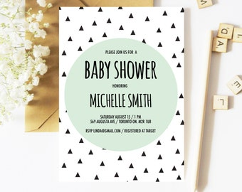 Baby Shower Invitation Boy, Geometric Baby Shower Invitation, Gender Neutral Baby Shower Invitation, Spring, Triangle Invitation, Baby Boy