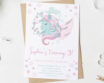 Unicorn Birthday Invitation, Winter Unicorn,  Birthday Invitation Girl, Pink, Mint, Glitter, Any Age, Birthday, Printed, Printable