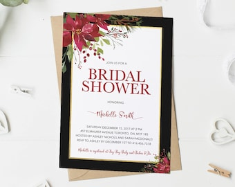 Christmas Bridal Shower Invitation, Winter Bridal Shower Invitation, Burgundy, Maroon, Poinsettia, Black And Gold, Printable, Printed