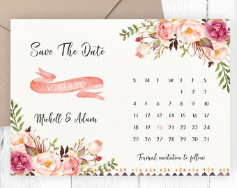 Save The Date Card, Floral, Calendar Save The Date, Watercolor, Boho, Rustic, Wedding Announcement, Printable, Printed, Spring, Summer