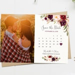 Save The Date Card, Floral, Calendar Save The Date, Watercolor, Save The Date, Boho, Photo, Marsala, Burgundy, Maroon, Printable
