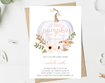 Baby Shower Invitation Girl, Pumpkin Baby Shower Invitation, Fall, Blush, pink, Peach, White, Little Pumpkin, Floral, Printable, Printed