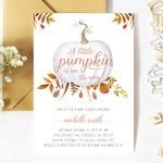 Baby Shower Invitation, Gender Neutral, A Little Pumpkin Is On The Way, Fall Baby Shower Invitation, White Pumpkin, Printed, Printable