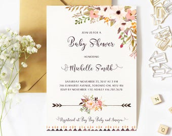 Baby Shower Invitation Girl, Boho, Spring Baby Shower Invitation, Floral, Watercolor, Flowers, Rustic, Arrows, Printable, Printed, Summer