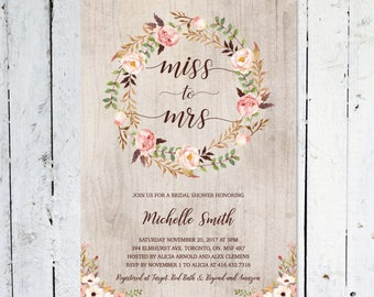 Bridal Shower Invitation, Spring, Summer, Miss To Mrs., Boho Bridal Shower Invitation,  Rustic, Floral, Fall,  Printable, Printed,